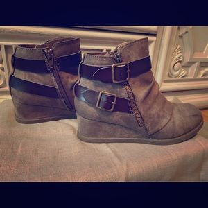 Maurice's Wedge Ankle Boots with Buckles